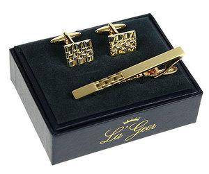 """Подарочный набор """"LA GEER"""": заколка для галстука, запонки (140501)"""
