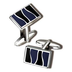 Запонки Quire, никель, серебристого цвета с черно- синими  вставкам (11-7711)